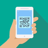 QR code reader app on smartphone screen.  Hand holding phone with Scan Stock Photography