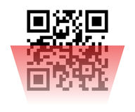 Qr code sample. Vector illustration of Qr code sample with red laser scanner. Scanned Qr code reads Scan it Stock Photos