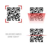 Qr code samples. Vector illustration of Qr code samples. Scanned Qr codes reads Scan it Stock Photo