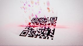 QR code scanner places askew. Arty 3d rendering of an abstract QR code scanning illustration put askew with flying up symbols, numbers, and figures of a rosy Stock Image