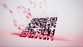 QR code scanner put aslant. Original 3d rendering of an abstract QR code scanning illustration put aslant with flying up symbols, numbers, and figures of rosy Royalty Free Stock Images