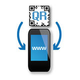 QR-Code-Scanning. Capture QR code on mobile smart phone. Isolated on white vector illustration