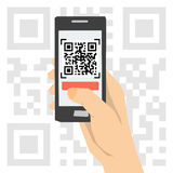QR code scanning - hand with phone Royalty Free Stock Images