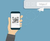 QR code scanning Royalty Free Stock Photos