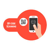 Qr code scanning in red bubble Royalty Free Stock Image