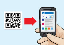 QR Code scanning technology. Illustration of mobile phone in the male hand scanning qr code with website hyperlink inside Stock Photography
