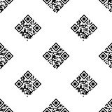QR Code seamless pattern. With Information and Data words encoded Stock Photos