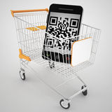 Qr code with shopping cart. 3d high quality render Royalty Free Stock Image