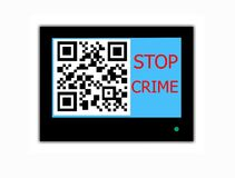 QR CODE and slogan STOP CRIME on television screen. Modern LCD screen with sign QR CODE and slogan STOP CRIME royalty free stock photo