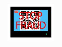 QR CODE and slogan STOP FRAUD on television screen. Modern LCD screen with sign QR CODE and slogan STOP FRAUD stock photography