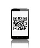QR Code on Smart Phone Stock Photography