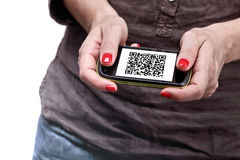 Qr code on smartphone Stock Image