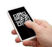 QR Code on Smartphone Royalty Free Stock Photo