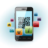 Qr code on smartphone screen vector illustration
