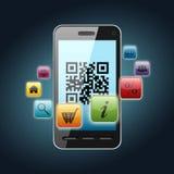 Qr code on smartphone screen royalty free illustration
