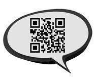 QR Code Speech Bubble Product Information Scan Stock Image