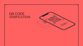 QR code verification. Smartphone screen read and scan bar code. Isometric hi tech vector illustration mobile phone with one solo vector illustration