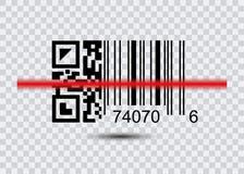 QR code voor Aftasten, Streepjescodepictogram met rode laser Modern eenvoudig vlak streepjescodeteken Royalty-vrije Stock Foto's