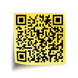 QR code on a yellow stick note Royalty Free Stock Photos