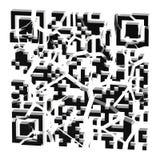 QR code in zwarte geïsoleerde die stukken wordt gebroken Stock Foto