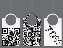 Qr coded label set Stock Image