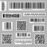 QR codes, bar and packaging labels  on transparent background Stock Photography