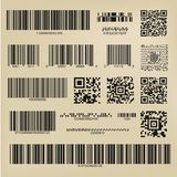 Qr codes and barcodes. Set or 3d codes. Qr codes and barcodes. Digital payment and information data labels Royalty Free Stock Image