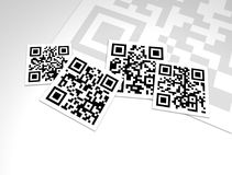 QR Codes Collage Design Close-Up. A collage design of many generic QR Codes. QR Codes have information encoded in their pattern that can be plain text, a URL, a stock illustration