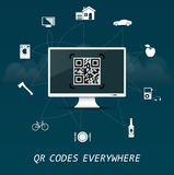 QR Codes everywhere - quick response codes business infographic template with monitor in the center Royalty Free Stock Photo