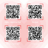 Qr codes samples on valentine theme. Vector illustration of Qr code samples on valentine holiday and love theme placed on heart background. Scanned Qr-codes read Royalty Free Stock Photography