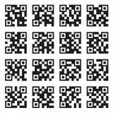 QR-Codesatz Beispiel-Ikonen auf weißem Hintergrund Vektor Stockfotos