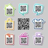 QR-codice. 8 icone messe Immagine Stock
