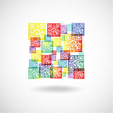 QR Collage Patchwork of QR Codes Stock Images