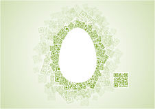 Easter Egg Shape Patchwork of QR Codes Stock Photo