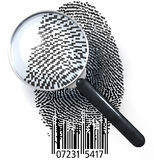 QR fingerprint under magnifying glass. Magnifying glass over fingerprint made of pixels and qr code, 3d rendering Royalty Free Stock Photo