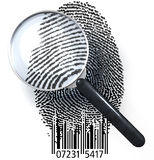 QR fingerprint under magnifying glass showing natural. Magnifying glass over fingerprint made of pixels and qr code showing natural fingerprint, 3d rendering Stock Photography