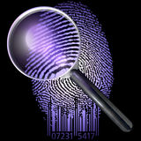 QR fingerprint under magnifying glass, showing natural, uv lit Stock Images
