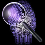 QR fingerprint under magnifying glass, uv lit Royalty Free Stock Images