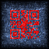 QR icon on tech screen Royalty Free Stock Photography