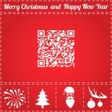QR Icon Vector. And bonus symbol for New Year - Santa Claus, Christmas Tree, Firework, Balls on deer antlers royalty free illustration