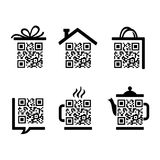 QR-kod. Ställ in pictograms Royaltyfri Foto