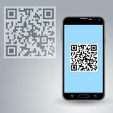 QR kod w smartphone Zdjęcie Royalty Free