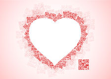 Red Heart Shape Patchwork of QR Codes stock illustration