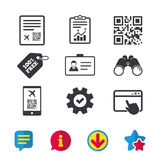 QR scan code icon. Boarding pass flight sign. Stock Images