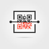 Qr scan icon with shadow Royalty Free Stock Photography