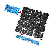 QRcode intelligentes Telefon-Einkaufen Stockbild