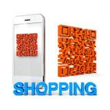 QRcode mobil telefonshopping Fotografering för Bildbyråer