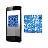 QRcode och mobil telefon Royaltyfria Bilder