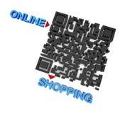 QRcode shopping Fotografering för Bildbyråer