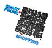 QRcode smart telefonshopping Fotografering för Bildbyråer
